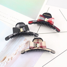 New Scottish plaid bowknot Hair crab claw clip for Women girl large Cloth art Ponytail Clamp Nice Hairpins Accessories