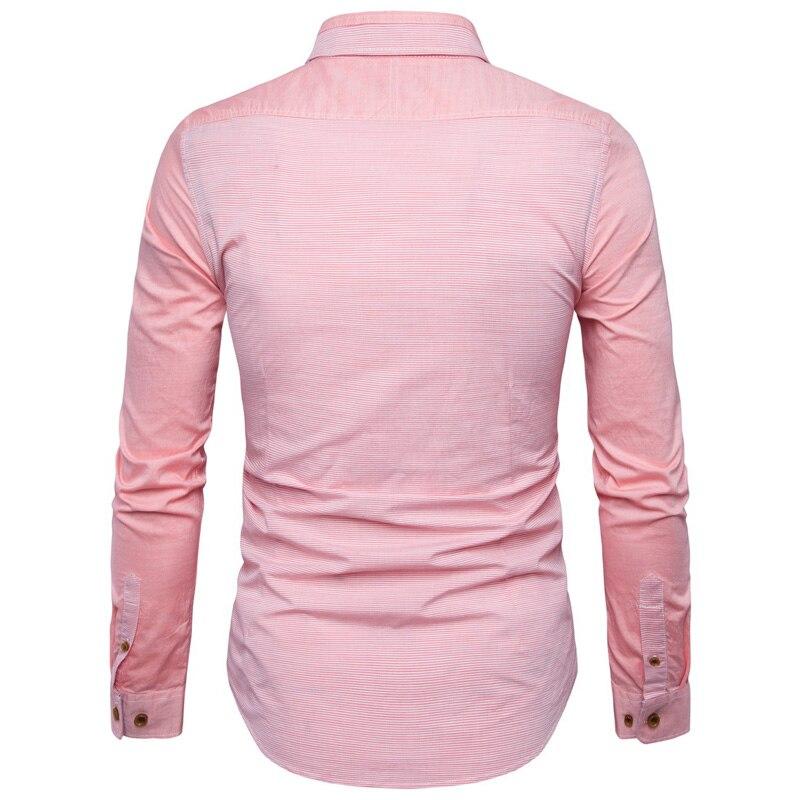Striped Shirt Men 2017 Pink Long Sleeve Slim Fit Men Shirt Casual ...