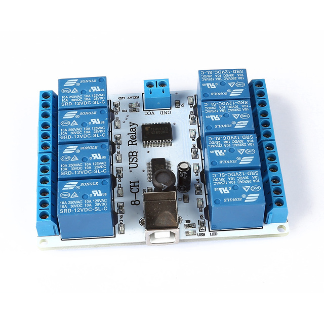 ETC-8-channel 12 V USB Módulo Placa de Relé Controlador 4 Automação Robótica