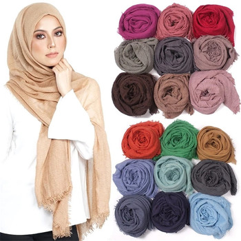Women Elegant 2019 Solid Under Scarf Crinkle Hijab Cotton Muslim Lightweight Wrap Turban foulard Islamic Shawl Head Scarves