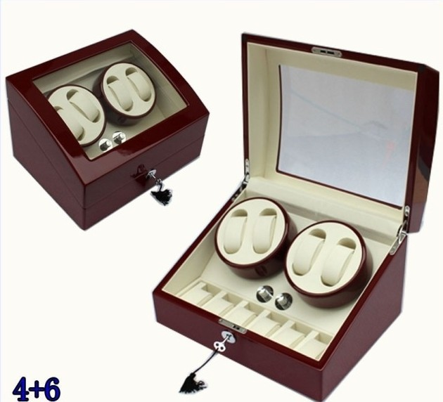 4 6 wine red watch winder box motor automatic rotation for 4 box auto