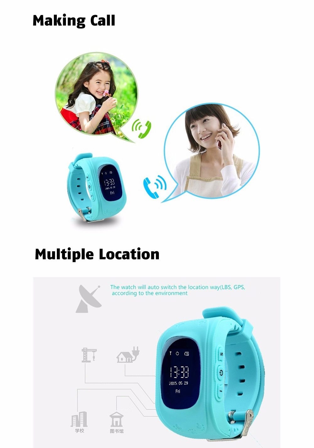 Q50 OLED Child GPS Tracker SOS Smart Monitoring Positioning Phone Kids GPS 004