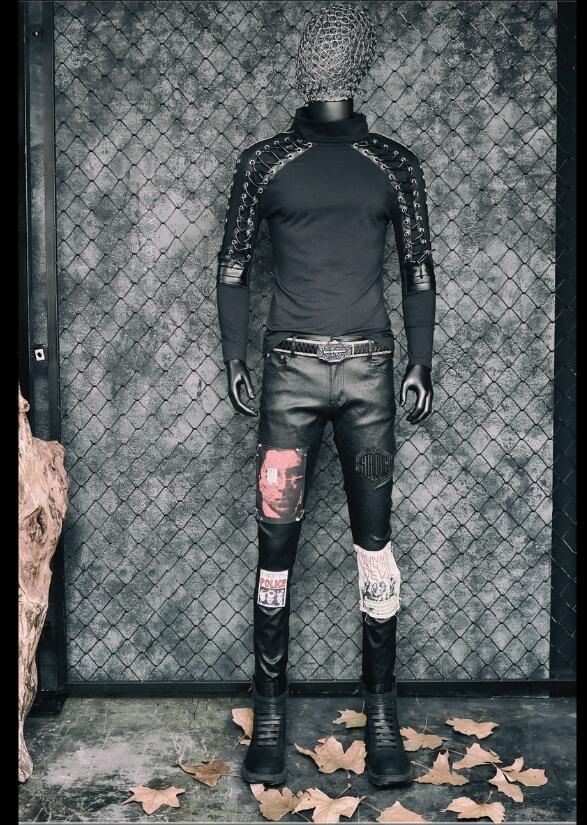 Disfraces de Punk rock para hombres cantante delgada Camiseta de manga larga diseño vendaje estiramiento hip hop club nocturno jóvenes tide ropa de cantante - 5
