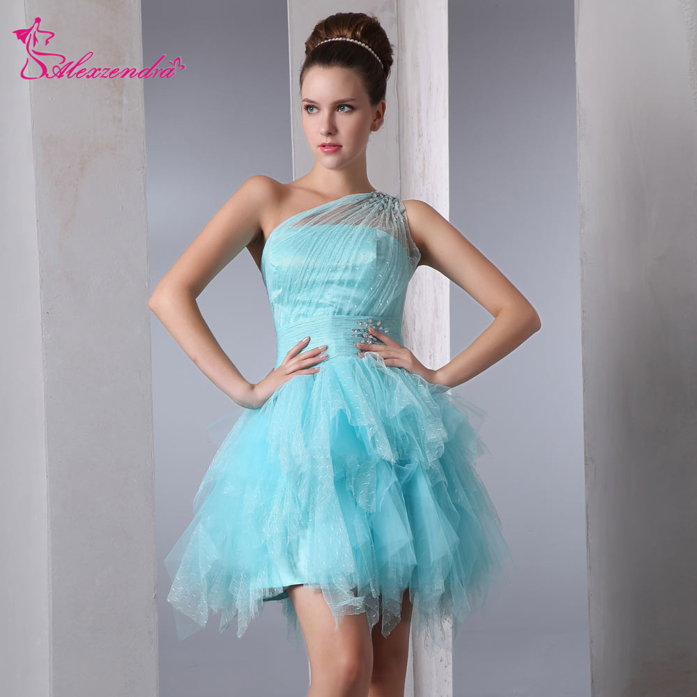 Alexzendra Light Blue Tulle One Shoulder Beads Above Knee Mini   Prom     Dresses   Customize Special Party Gowns