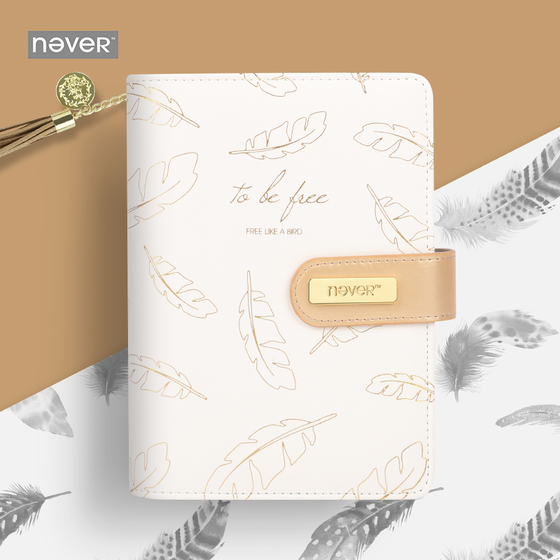 Never Foil Gold Feather A6 Notebooks And Journals Spiral Personal Diary Organizer Weekly Planner Gift Stationery