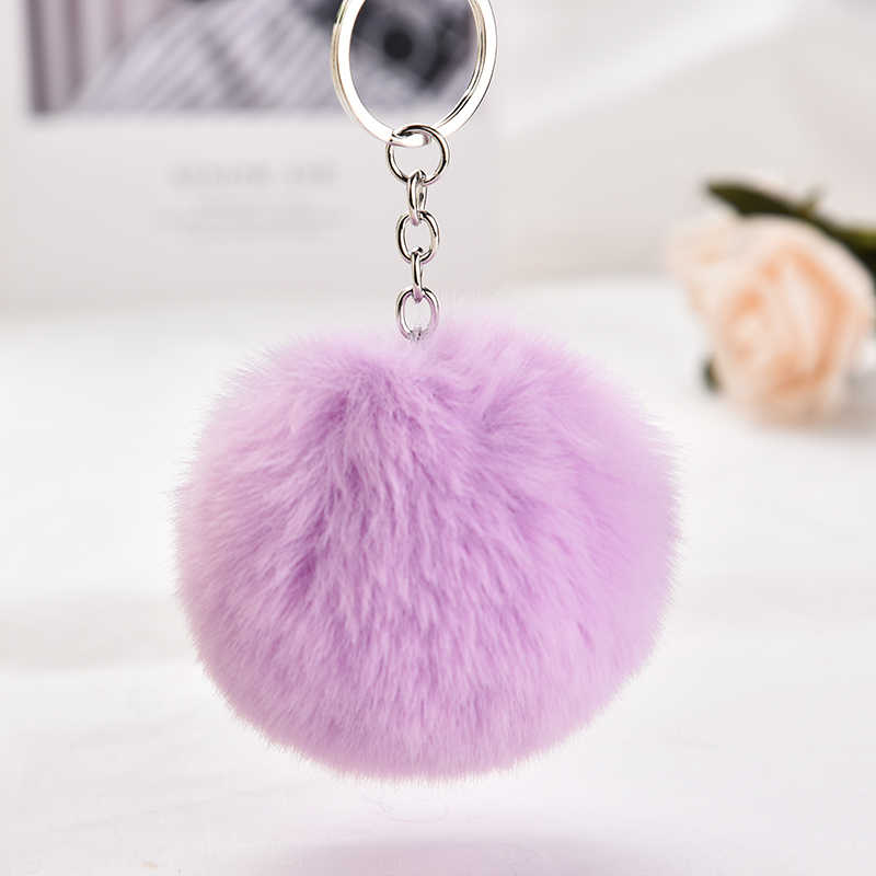 23 cores trinket fofo coelho bola de pele chaveiro pompons de pele de coelho artificial chaveiro saco do carro das mulheres titular do anel chave eh334