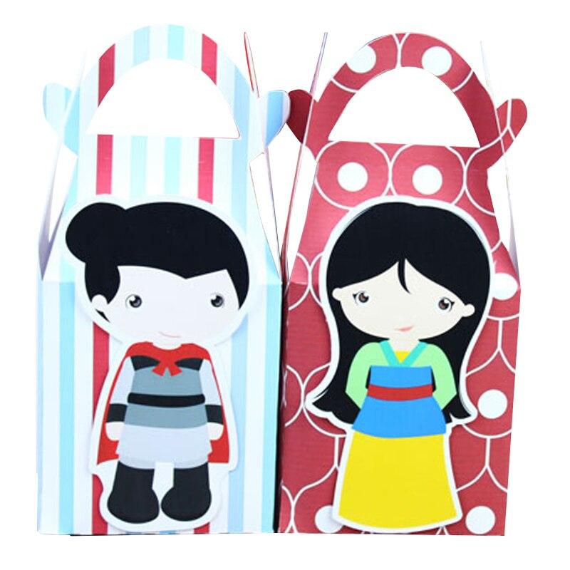 Mulan and her guy Favor Box Candy Box Gift Box Cupcake Box Boy Kids Birthday Party Supplies Decoration Event Party Supplies Nuevo Bebé niñas lentejuelas capas volantes vestido recién nacido chico encaje princesa Vestidos bebé niñas cumpleaños fiesta Vestidos verano Vestidos