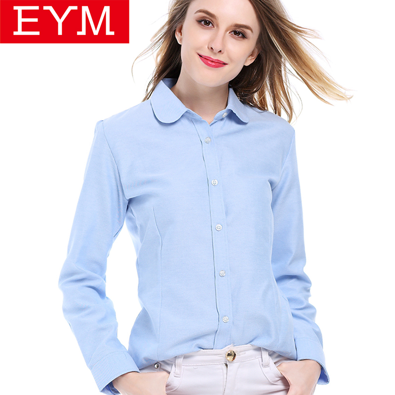 EYM   Blouses     Shirts   2019 Autumn New Fashion Brand White   Shirt   Women Long Sleeve   Shirts   Cotton Female Blusa OL Casual Women Tops