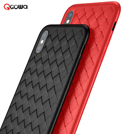 Qoowa Top quality cross leather pattern weaving beathable case for apple iPhone X for iphonex stylish nice touch feeling