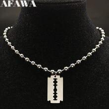 Collier avec lame en acier inoxydable pour femmes, perle, couleur argent, bijoux, N423S01, 2021