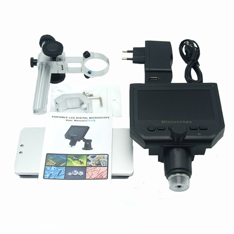 600X Zoom 3.6MP USB Digital Microscope with Aluminum Alloy Base 4.3 Inches LCD Display for PCB Inspection Mobile Phone Repairing