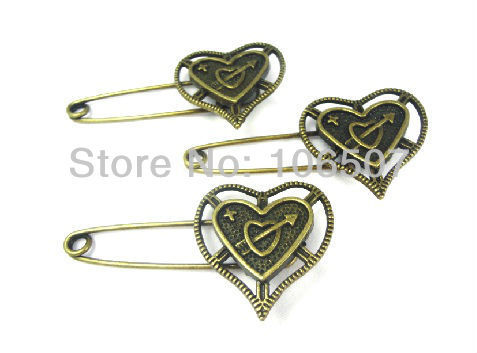 5PCS Copper loves' pin brooch Alloy romantic heart shape brooch high quanlity,hot sell wholesale and retail free shipping