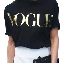 BONJEAN Golden VOGUE T-shirt Women Tops Tee 2017 Summer New Cotton Short Sleeve Casual Plus Size Letter Print T shirt For Women