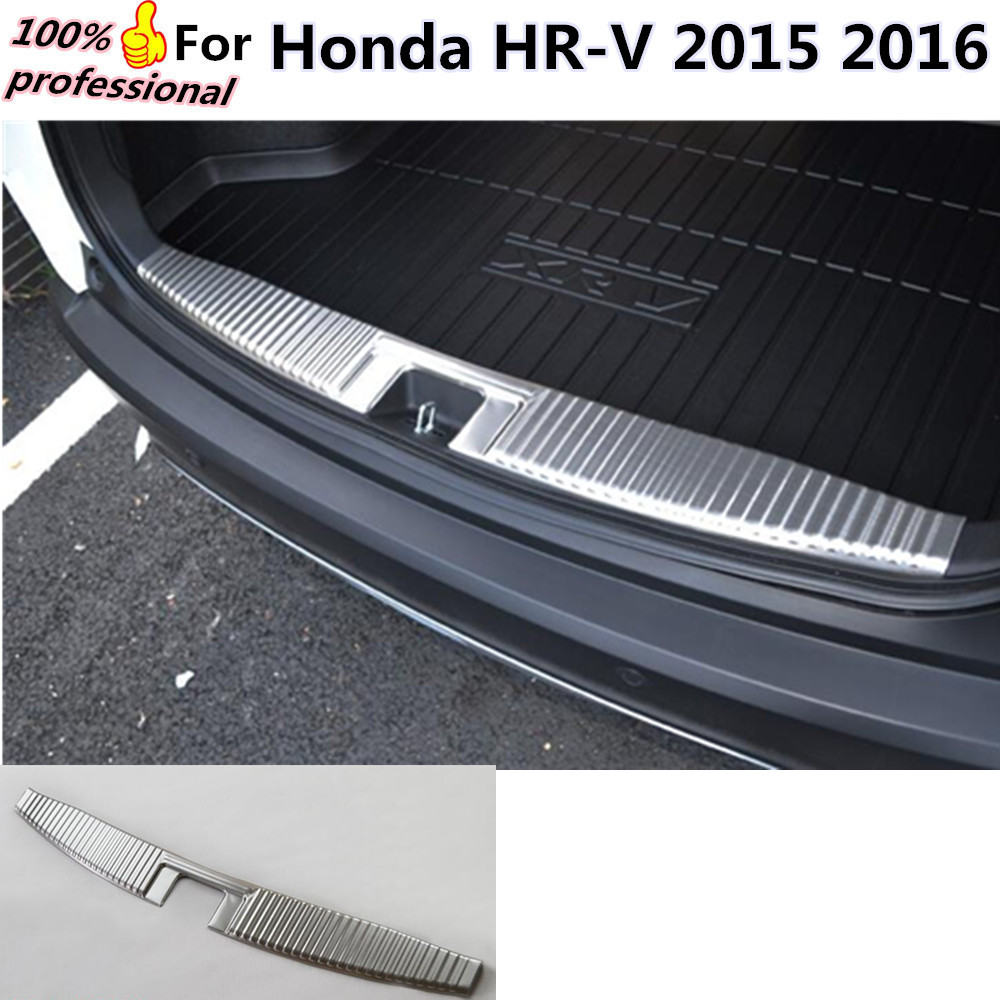 High Quality Car inside Rear Bumper trim Stainless Steel Scuff Sill trunk plate pedal cover 1pcs for Honda HR-V HRV 2015 2016 high quality abs chrome rear bumper scuff trim for 2015 toyota highlander
