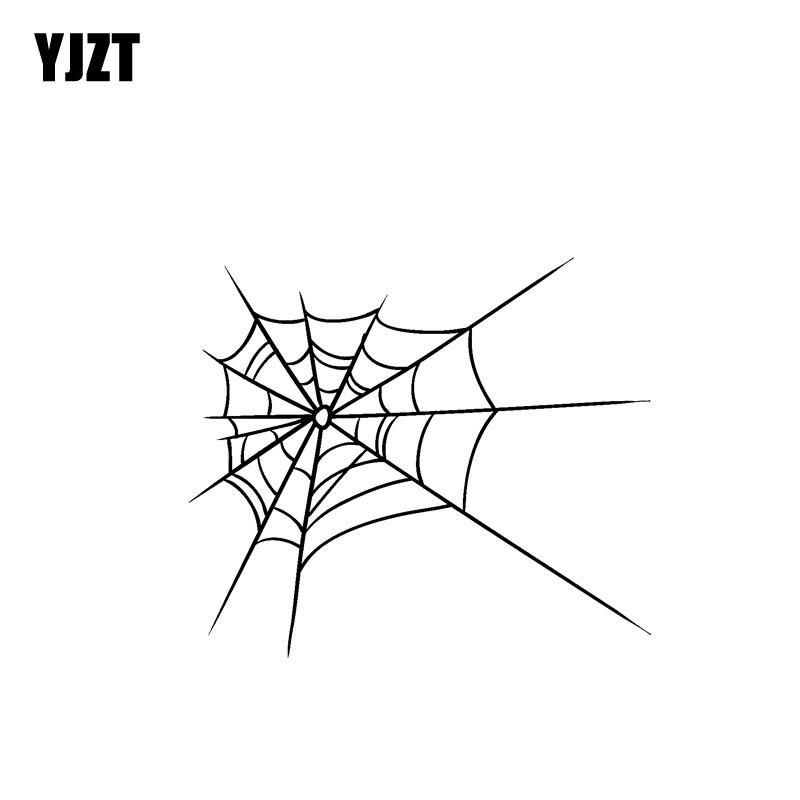 YJZT 14.5CM*12.6CM Original Spider Cobweb Minimalist Vinyl Decal Car Sticker Delicate Black/Silver C19-0705