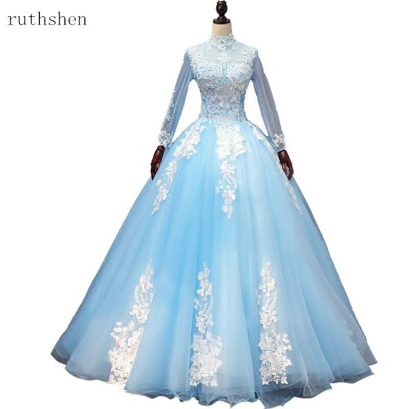 07b954526 Cheap Luz Azul Quinceañera vestidos De baile vestido De apliques mangas  traje De Bal 15 16