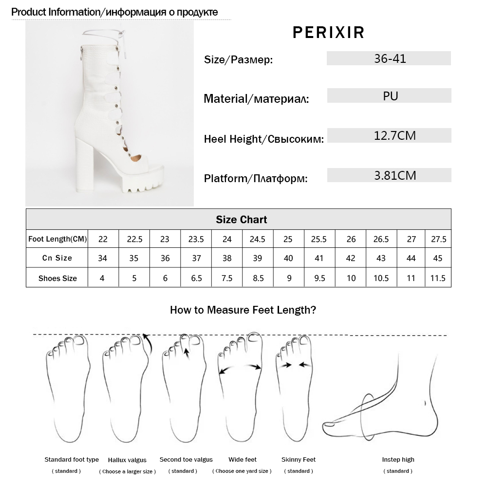 Perixir Women Boots Fashion High Heel Shoes Lace-UP Summer Cross-tied Cool Boot Square Heel High Quality Platform Female Shoes