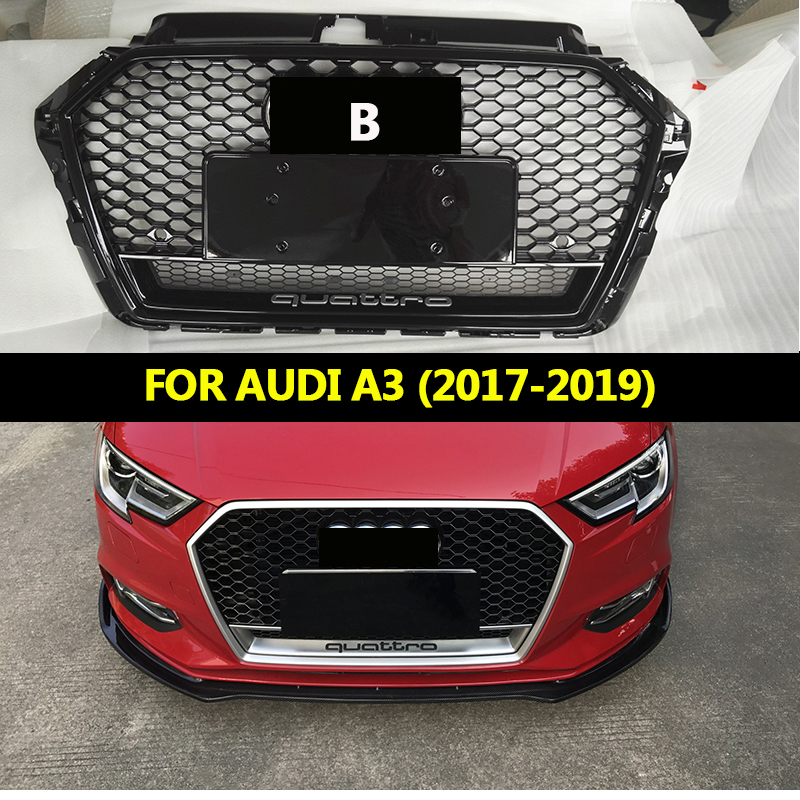 RS3 front Grille Racing Grills Honeycomb quattro grills for Audi A3 to RS3 front bumper 2017 2018 2019