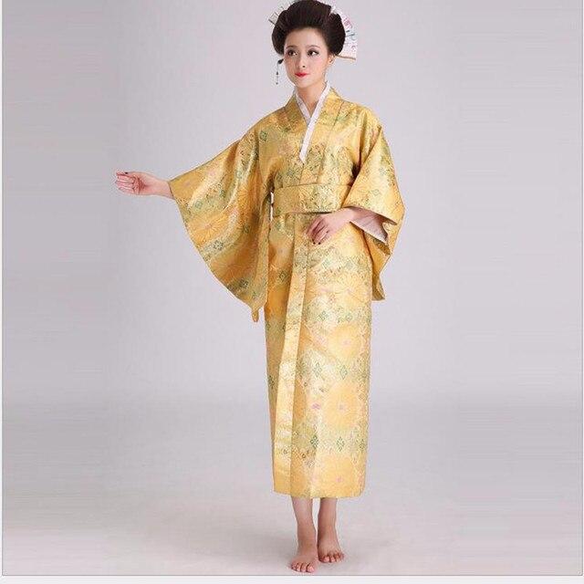 Yenilik Abiye Kadınlar Saten Kimono Seksi Yukata Ile Obi Performans Dans Elbise Japon Cosplay Kostüm Bir Boyut