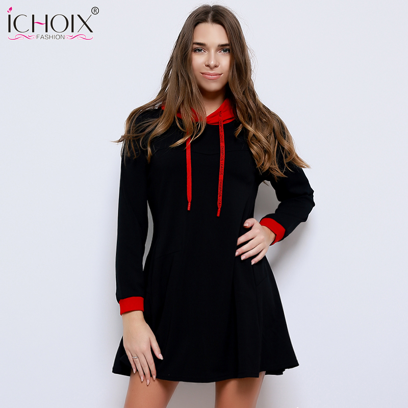Knitted Autumn Dress 2018 Plus Size Women Dress Long Sleeve Pocket Hooded Dress 5XL 6XL Big Size Warm Winter Dress Vestidos ...