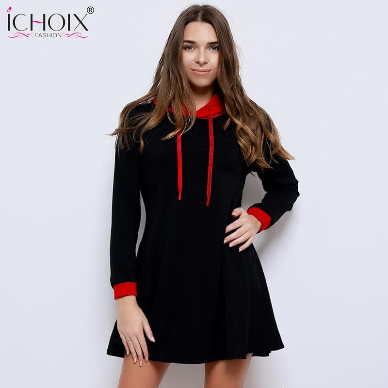 Knitted Autumn Dress 2018 Plus Size Women Dress Long Sleeve Pocket Hooded Dress 5XL 6XL Big Size Warm Winter Dress Vestidos ...
