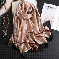 2019 marque de luxe femmes écharpe été foulards en soie châles dame enveloppes doux pashimina femme Echarpe Designer plage étole bandana