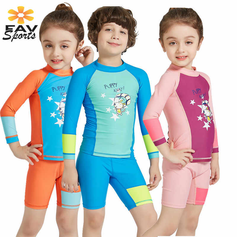Stijlvolle Kids Badmode Uv-bescherming Lange mouw Wetsuits Elastische Duikpakken Voor Meisjes Jongens Snorkelen Rash Guard warm Houden