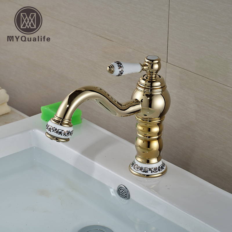 Golden Single Ceramic Handles Golden Long Spout Basin Faucet Deck Mounted One Hole with Hot and Cold Water luxury deck mounted golden polish batub faucet double handles swan spout hot