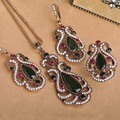 Beauitiful Sculpture Flowers Turkish Jewelry Sets Necklace & Earrings & Ring Royal Style Simulated Resin Women Love Accessories