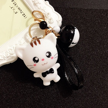 New Arrival Cute Big Face Cat Keychain Girls Romantic Bell Pendant Key Chains Holder Bag ring chain Gift