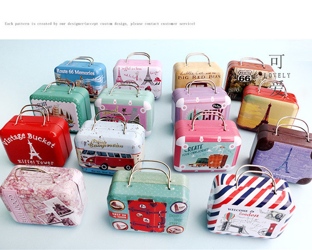 191d6e89e686 US $21.48 |Europe Type Style Vintage Suitcase Shape Storage Box Gift Box  Little Iron Handbag Small Rectangular Candy Box Metal Container-in Gift  Bags ...