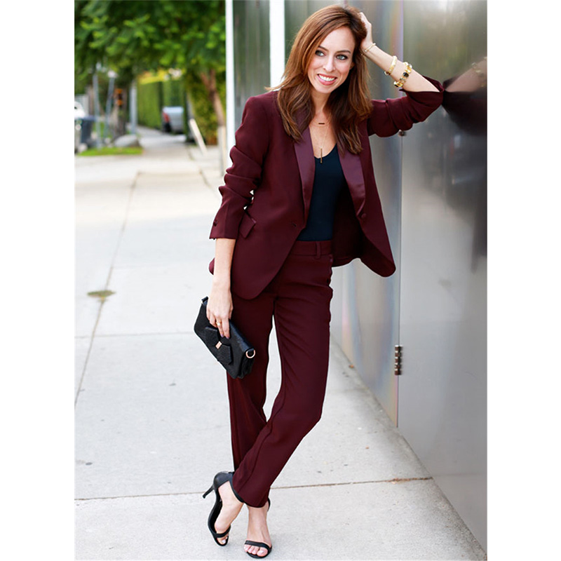 New Women Business Suits Wine Red Formal Pant Suits For