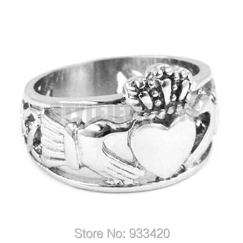 Free shipping! Claddagh Style Hand to Hold a Heart with Crown Ring Stainless Steel Jewelry Celtic Knot Women Biker Ring SWR0308B