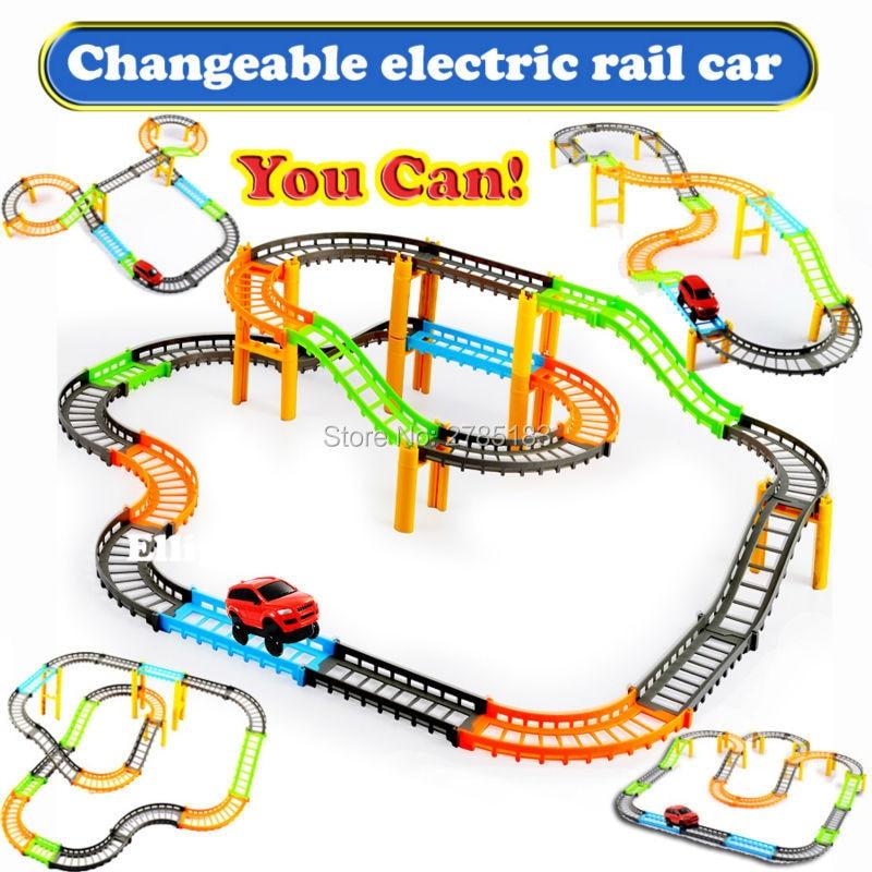changeable double electric rail car kids train railway track slot car track educational racing car building