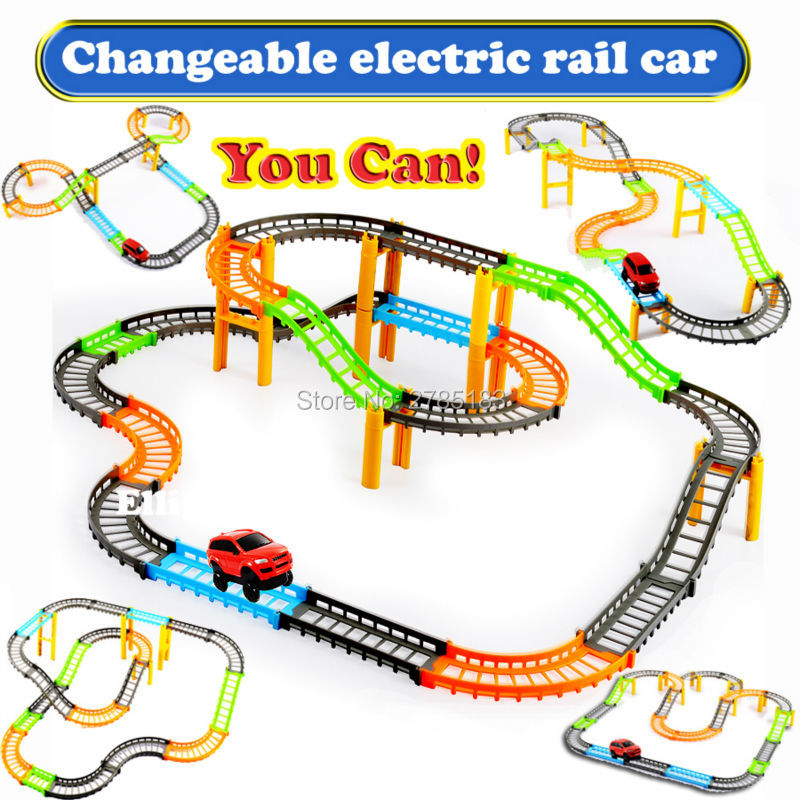 changeable double electric rail car kids train railway track slot car track educational racing car building model kit sets