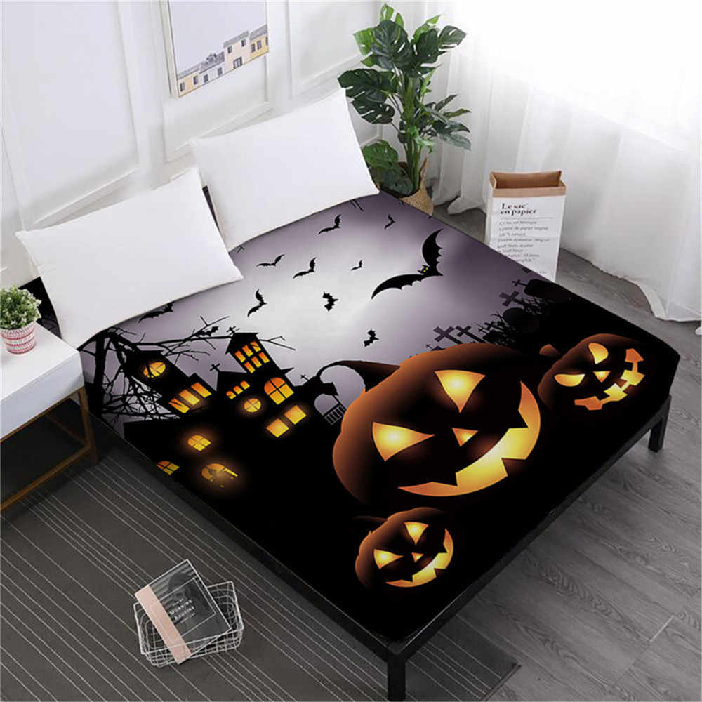Kids Cartoon Bed Sheet Halloween Pumpkin Print Fitted Sheet Night Scenery Bedding King Queen Deep Pocket Sheet Elastic Band D25