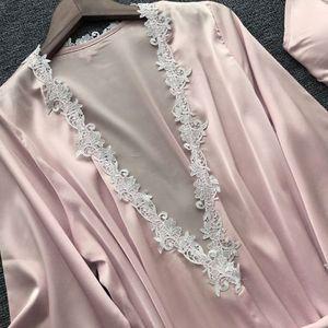 Image 5 - Womens Plus Size Summer Faux Silk 5 Piece Pajamas Set Crochet Floral Lace Applique Trim Sleepwear Solid Color Nightgown Babydoll