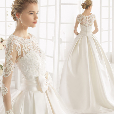 Lace Satin Wedding Dresses Train Wedding Gowns Long Sleeve Retro ...