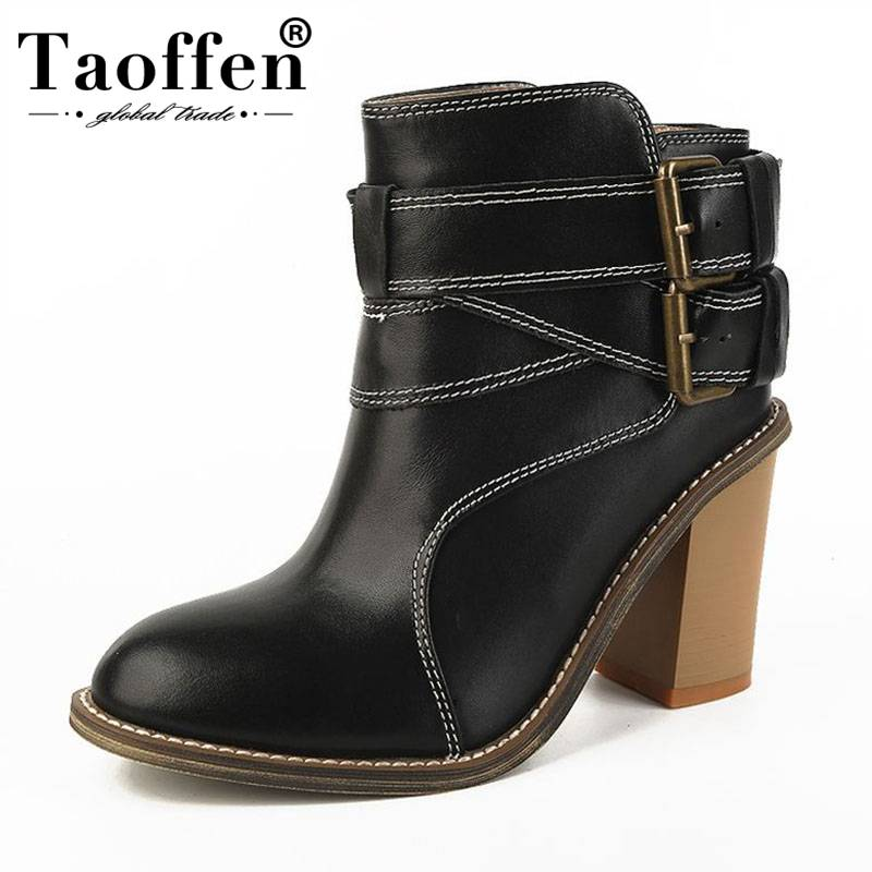 TAOFFEN 2019 New Fashion Real Leather Ankle Boots Buckle High Heel Office Ladies Winter Shoes Women