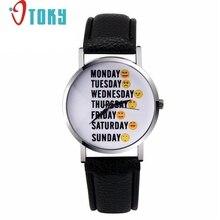 Мода Часы Женщины Английский Письмо неделю 7 дней Искусственной Кожи Кварцевые Часы montre femme Часы relógio feminino #1128