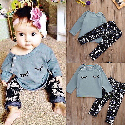 0-24M Newborn Infant Baby Girls Clothes Cute Cotton Full Sleeve Eyelash T-Shirt + Long Pants Outfits Kids 2018 New Clothing Set