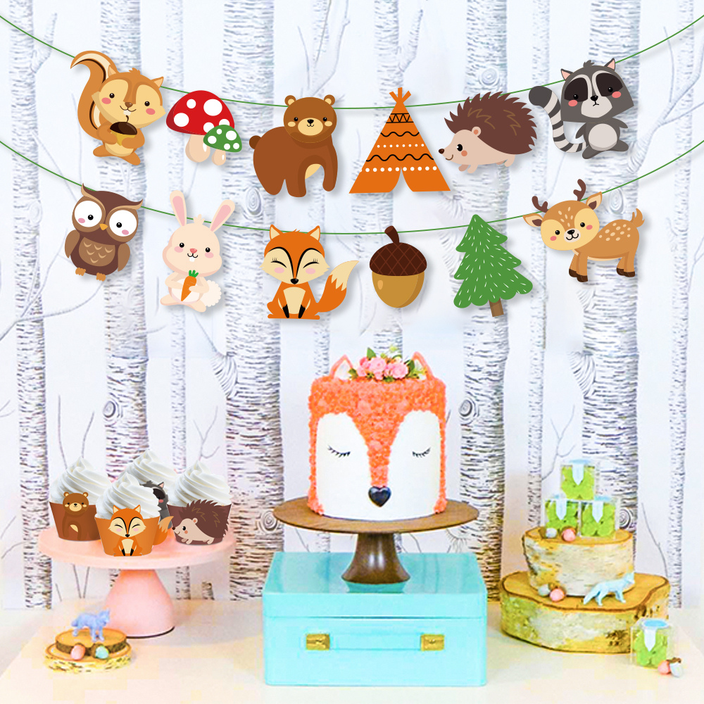 Safari Jungle Woodland Theme Birthday Party Banners Forest Cartoon Animal Kids Birthday Party Favors Baby Shower Party Supplies