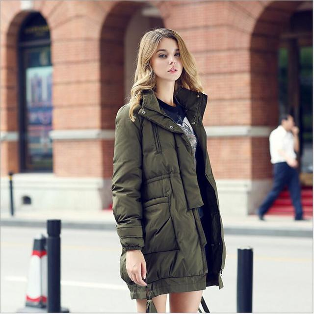 Quality Thick Down jacket standing leader frock Coat Female Winter ...