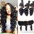 Vishine Hair Brazilian Loose Wave With Frontal Closure 13x4 Lace Frontal Closure With Bundles Mink Brazilian Hair With Frontal