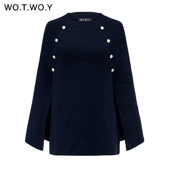 WOTWOY 2019 Knitted Cloak Sweater Women Casual Loose Shawl Autumn Winter Streetwear Poncho Women Sweater And Pullovers Plus Size 4
