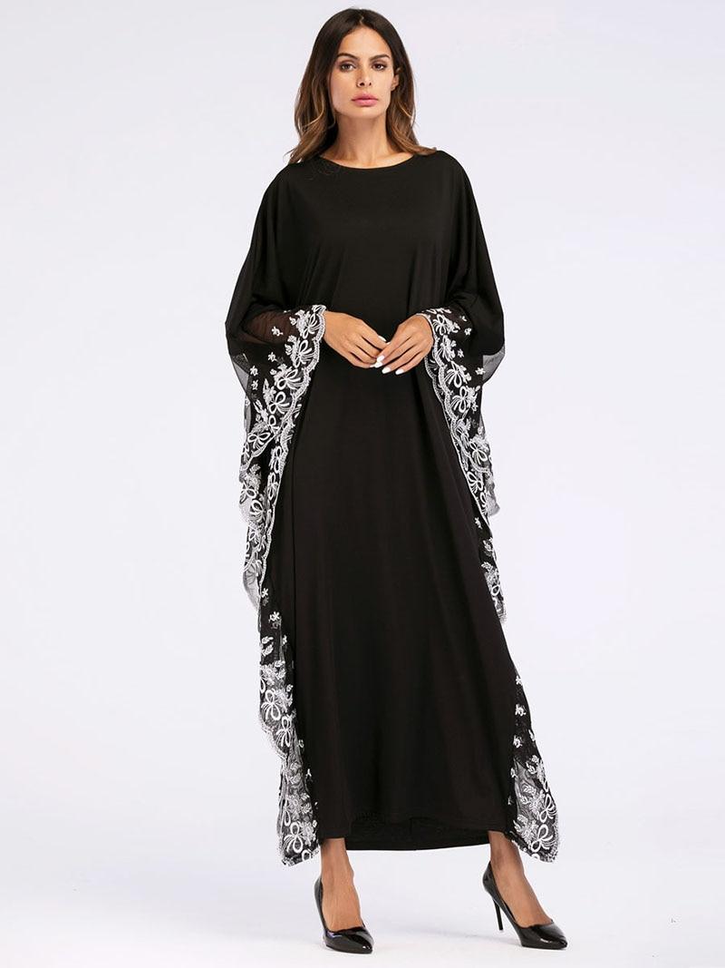 Compre Oriente Medio Árabe Elegante Suelta Abaya Kaftan Vestidos De ... 8970a56589db