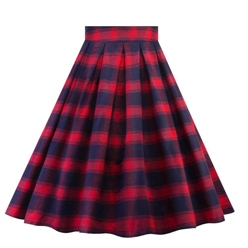 e97d6dc9ab Red Plaid Pleated Skirt Vintage 50s 60s Tartan Retro Rockabilly Skirts  Womens School Summer Midi High
