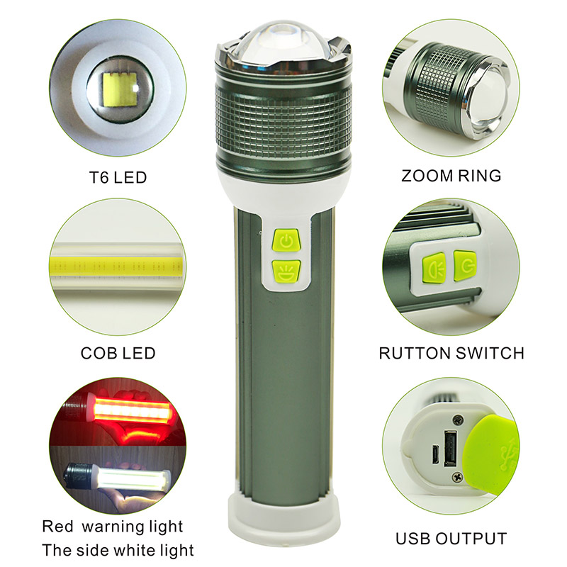Multi-function flashlight T6+COB Zoomable USB rechargeable torch Lithium Battery multifunction portable power for phone charger