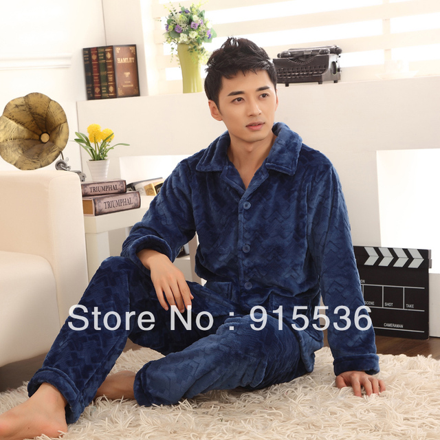 Aliexpress.com : Buy Luxury Men Thickening Flannel Pajamas Sets ...