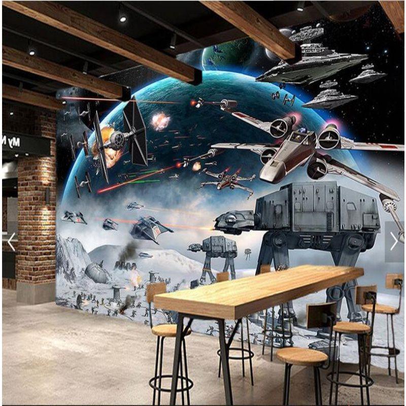 Large custom mural wallpapers restaurant Shock Star Wars KTV Internet cafes theme background wall paper machine gear wallpaper